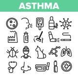 Linha fina grupo do vetor da doença da asma dos ícones ilustração royalty free