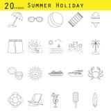 Linha fina grupo do vetor das férias de verão do ícone Fotos de Stock