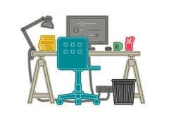 Linha fina ilustração do local de trabalho Fotos de Stock
