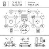 Linha fina indústria de carro no estilo moderno Fotografia de Stock