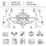 Linha fina indústria de carro no estilo moderno Imagem de Stock Royalty Free