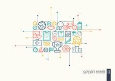 Linha fina integrada esporte símbolos ilustração stock