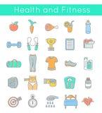 Linha fina lisa aptidão e ícones do bem-estar Fotos de Stock Royalty Free