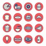 A linha fina lisa ícones da sobremesa do alimento ajustou o vetor Imagens de Stock