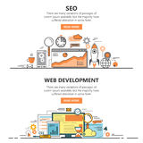 A linha fina lisa do desenvolvimento da otimização e da Web do Search Engine projeta bandeiras Elementos do conceito do vetor, íc ilustração do vetor