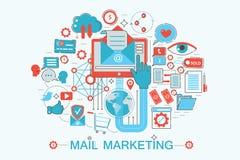 Linha fina lisa moderna conceito do mercado do correio do projeto para o Web site, a apresentação, o inseto e o cartaz da bandeir Imagens de Stock