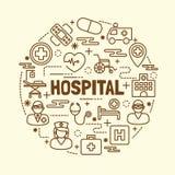 Linha fina mínima ícones do hospital ajustados ilustração stock