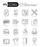 A linha fina moderna ícones ajustou-se de ferramentas essenciais do negócio básico, equipamento de escritório ilustração do vetor