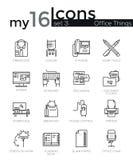 A linha fina moderna ícones ajustou-se de ferramentas essenciais do negócio básico, equipamento de escritório ilustração royalty free