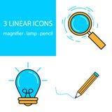 Linha fina moderna ícones da Web ajustados Símbolo superior do esboço da qualidade Foto de Stock