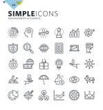 Linha fina moderna ícones de gestão e de finança ilustração royalty free