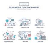 A linha fina moderna ícones do negócio ajustou-se do desenvolvimento de aplicações Fotos de Stock