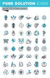 A linha fina moderna ícones lisos do projeto ajustou-se da ecologia ilustração royalty free