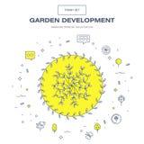 Linha fina moderna grupo isolado jardim do ícone da flor e qua superior Foto de Stock