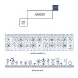 Linha fina moderna grupo isolado jardim do ícone da flor e qua superior Fotos de Stock Royalty Free