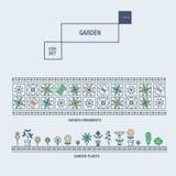 Linha fina moderna grupo isolado jardim do ícone da flor e qua superior Fotografia de Stock Royalty Free