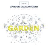 Linha fina moderna grupo isolado jardim do ícone da flor e qua superior Imagens de Stock Royalty Free