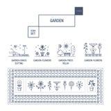 Linha fina moderna grupo isolado jardim do ícone da flor e qua superior Imagens de Stock