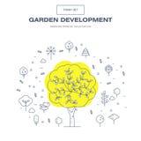 Linha fina moderna grupo isolado jardim do ícone da flor e qua superior Fotos de Stock
