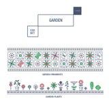 Linha fina moderna grupo isolado jardim do ícone da flor e qua superior Fotografia de Stock