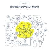 Linha fina moderna grupo isolado jardim do ícone da flor e qua superior Foto de Stock Royalty Free