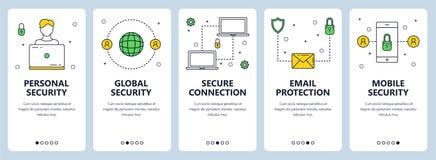 Linha fina moderna grupo pessoal do vetor da bandeira da Web do conceito da segurança ilustração stock