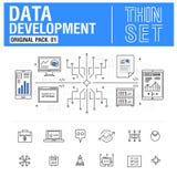 A linha fina moderna nova ícones ajustou a análise de dados do desenvolvimento Foto de Stock