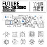 A linha fina moderna nova ícones ajustou a tecnologia do futuro Fotografia de Stock Royalty Free