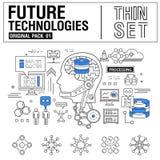 A linha fina moderna nova ícones ajustou a tecnologia do futuro Imagens de Stock Royalty Free