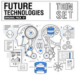 A linha fina moderna nova ícones ajustou a tecnologia do futuro Imagem de Stock