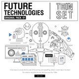 A linha fina moderna nova ícones ajustou a tecnologia do futuro Imagens de Stock