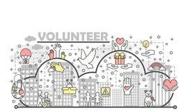 Linha fina molde do vetor da bandeira do cartaz do voluntário Imagem de Stock
