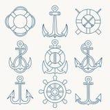 Linha fina náutica grupo do emblema Foto de Stock