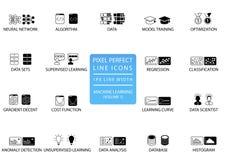 Linha fina perfeita ícones e símbolos do pixel para a aprendizagem de máquina/profundamente que aprende/inteligência artificial ilustração royalty free