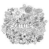 Linha fina preta cartão do verão isolado no fundo branco Foto de Stock