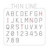 Linha fina projeto da fonte de vetor do estilo de caráter do alfabeto Foto de Stock