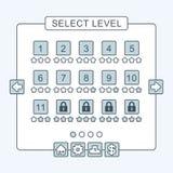 A linha fina relação do nível do menu do jogo almofada o ui Fotografia de Stock