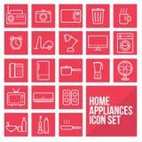A linha fina simples ícones dos aparelhos eletrodomésticos ajustou o vetor Foto de Stock Royalty Free