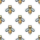 Linha fina teste padrão sem emenda da abelha Fotografia de Stock Royalty Free