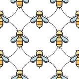 Linha fina teste padrão sem emenda da abelha Fotos de Stock