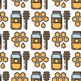 Linha fina teste padrão sem emenda do frasco e do favo de mel do mel Fotografia de Stock Royalty Free