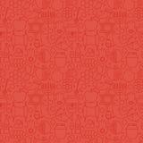 Linha fina teste padrão sem emenda vermelho judaico do feriado do ano novo ilustração royalty free