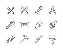 A linha fina utiliza ferramentas ícones Imagens de Stock Royalty Free