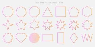 A linha fina vetor dá forma ao grupo do ícone círculo, quadrado, triângulo, polígono, estrela, coração, espiral, rombo, figuras d ilustração do vetor