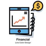 Linha financeira ícone da cor ilustração do vetor