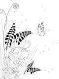 Linha floral desenhado Imagem de Stock