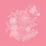 Linha flores da arte Fotos de Stock Royalty Free