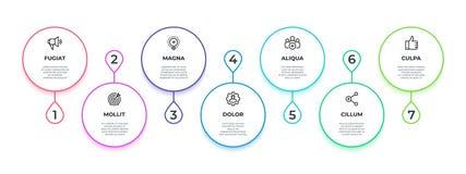 Linha fluxo infographic 7 etapas trabalham o gráfico minimalista do processo, bandeira dos trabalhos da produtividade Apresentaçã ilustração stock
