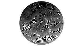 Linha fundo da zebra da animação do movimento do teste padrão 4K Em um fundo branco, em um círculo Laços, ondas, transições video estoque