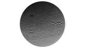 Linha fundo de intervalo mínimo da zebra da animação do movimento da textura do teste padrão 4K Em um fundo branco, em um círculo filme